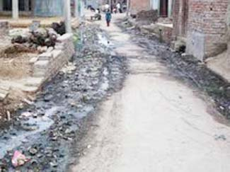 सपा विधायक व व्लाक प्रमुख के लोहिया ग्राम में बजबजा रही सड़के
