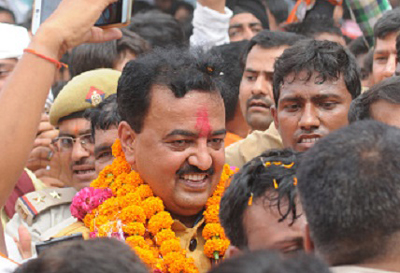 LUCKNOW, INDIA - APRIL 11: Newly appointed BJP UP unit President Keshav Prasad Maurya was accorded a grand welcome at the party office on April 11, 2016 in Lucknow, India. (Photo by Ashok Dutta/Hindustan Times via Getty Images)