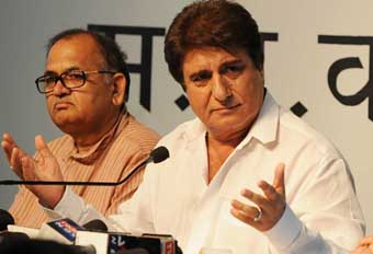 "BHOPAL, INDIA - MAY 28: Bollywood actor and Congress leader Raj Babbar addressing a press conference on the two years performance of the NDA government, on May 28, 2016 in Bhopal, India. Babbar attacked at the NDA government, claiming that it has ""failed on all counts"" and is ""organising a tamasha to impress upon people that the country has fast changed during its rule"". (Photo by Praveen Bajpai/Hindustan Times via Getty Images)"