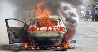 हाई-वे पर अस्पताल संचालक की कार में लगी आग